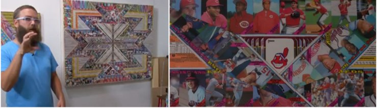 Collage using Cleveland Indian baseball cards and Native American patterns