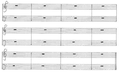 Musical score for John Cage's elaborate contemporary classical composition, cage's 4′33 (1952)