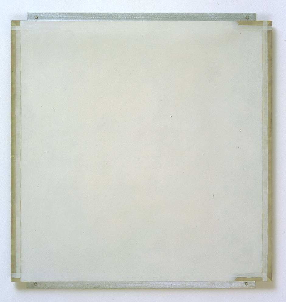 Robert Ryman, Guild, 1982, enamelac paint on fibreglass, aluminium and wood, 98.2 x 91.8 x 2.8 cm, Tate.