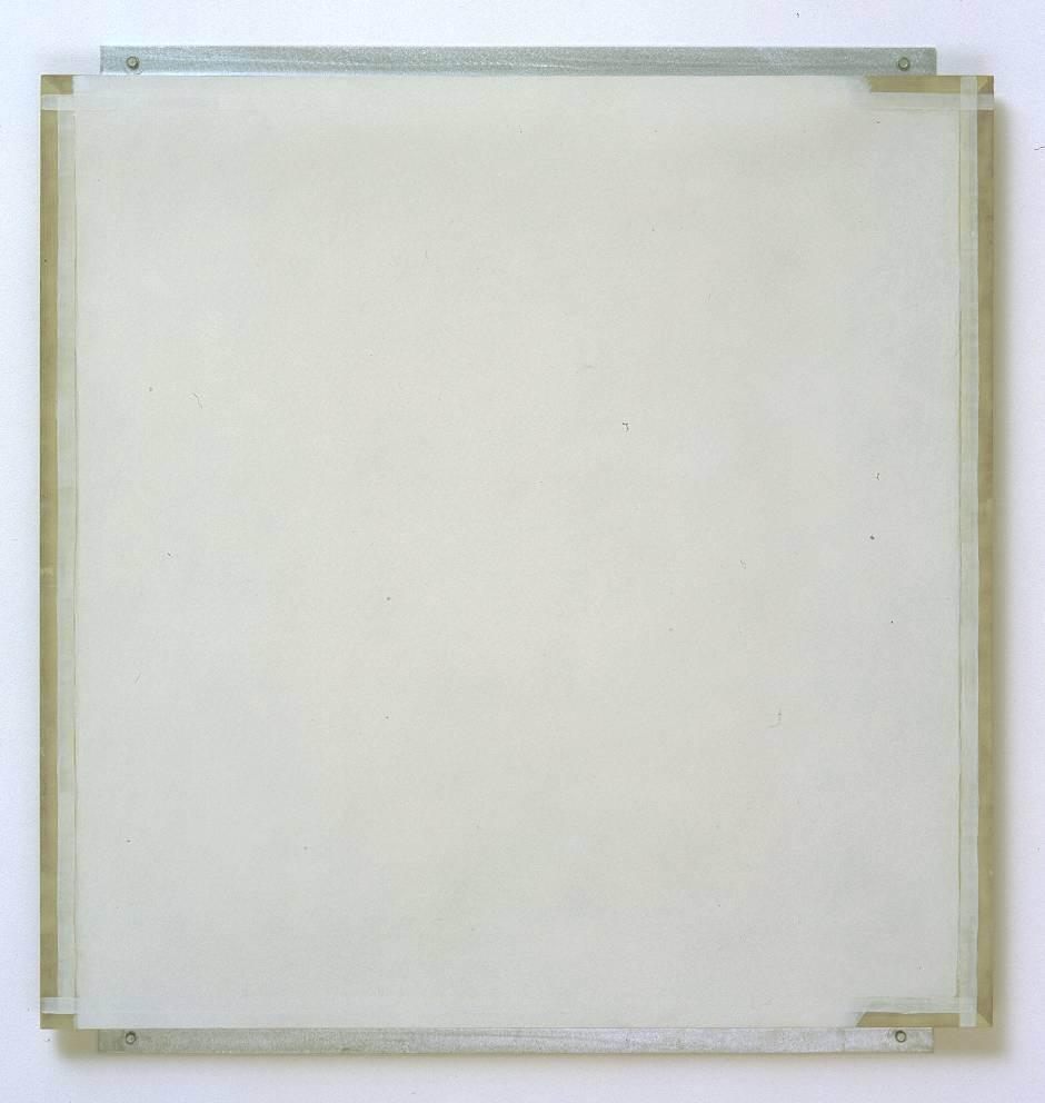 Robert Ryman, Guild, 1982, enamelac paint on fibreglass, aluminium and wood, 98.2 x 91.8 x 2.8 cm, Tate.