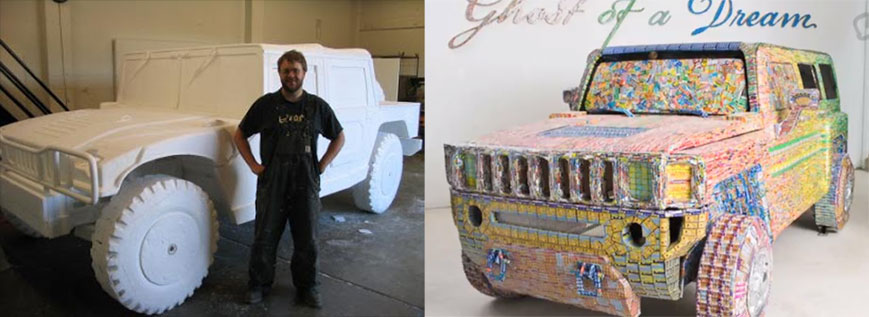 Hummer fashioned from losing lottery tickets
