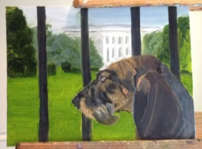 Bush-dog-painting in front of the White House