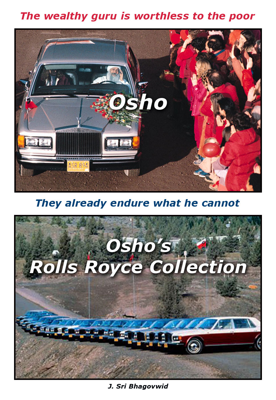 Osho and 90 Rolls Rorces. Rich Guru.