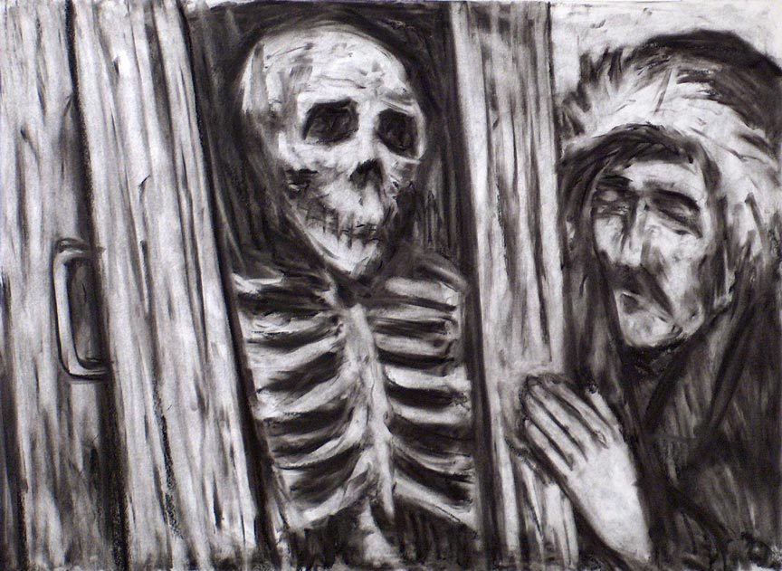 Visiting the Dead. Charcoal on paper.