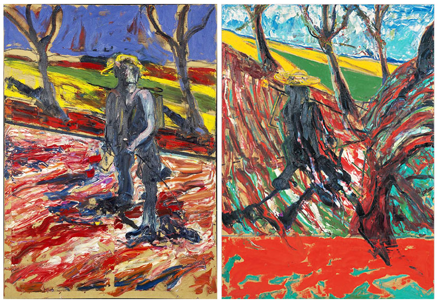 Two paintings Francis Bacon make after Van Gogh's self portraits on the road.