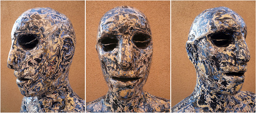 Blue-painted-man,three-view