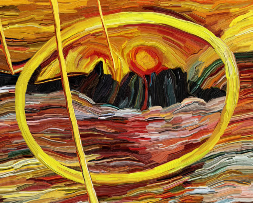 Giant yellow ring hovering on the water and encircling the sun