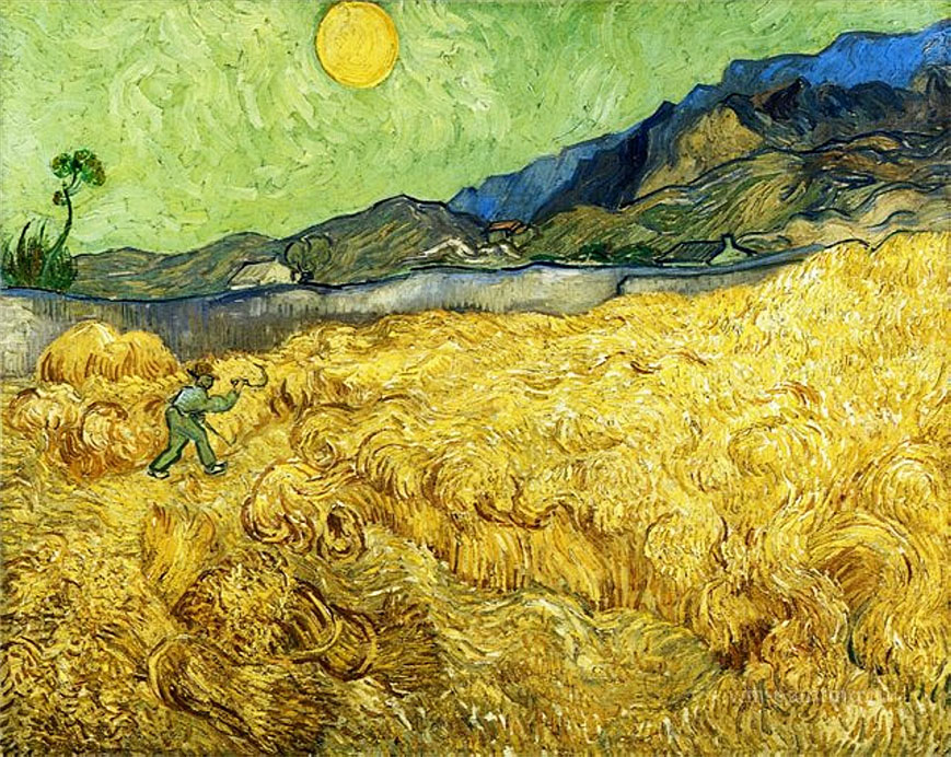 Wheat Field with Reaper and Sun, 1888, by Van Gogh