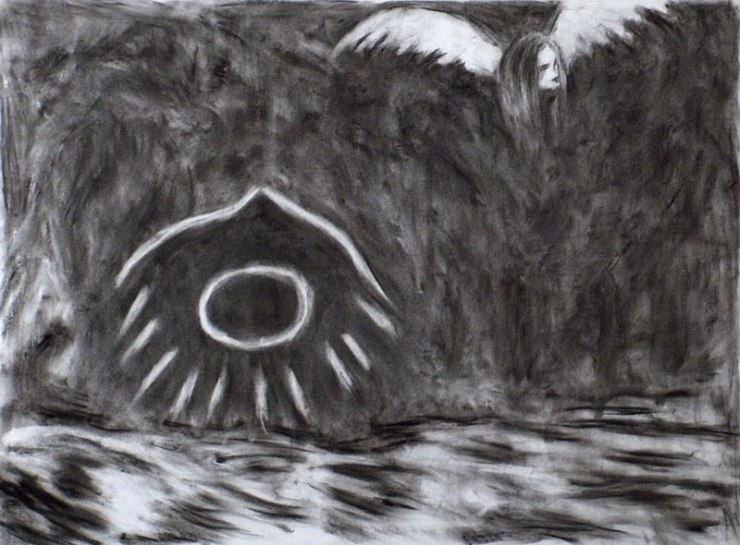 Winged Entities, Charcoal on paper, by me. @1990