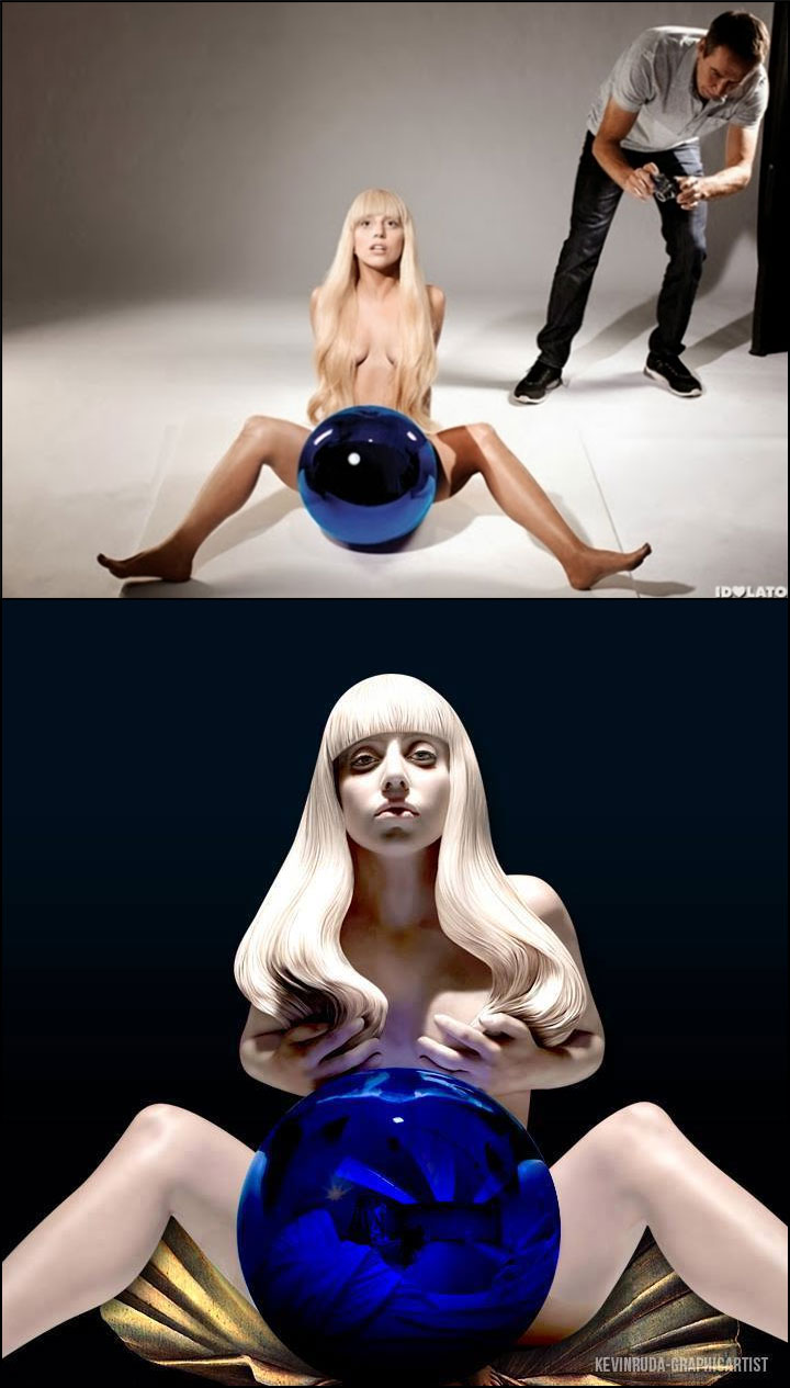 Jeff Koons photographing Lady Gaga, and finished sculpture by his team of paid sculptors