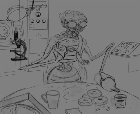 5) Started introducing a background of lab equipment. He's a scientist, after all.