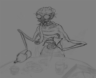 4) Made the arms thinner, and now he is behaving more like a human, pouring a drink.