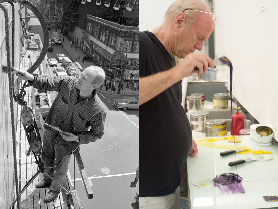 Left, James Rosenquist at work on a billboard back in the day. Right, mixing paints in 2011.