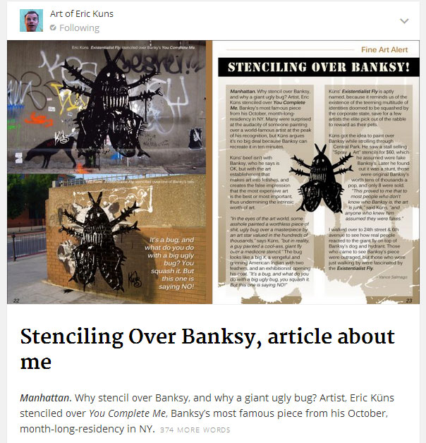 My article and art about stenciling over Banksy