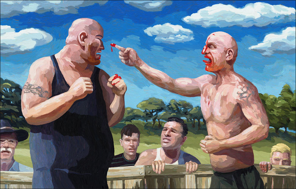 Bare Knuckle Brawl, 12/2013. Digital painting by Eric KUns