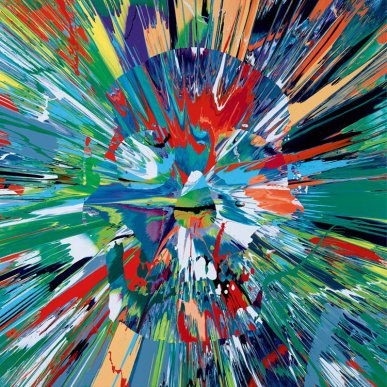 Damien-Hirst,--Beautiful-Muruga-Paranoia-Intense-Painting-(with-Extra-Inner-Beauty,-signed,-titled-and-dated-2008-on-the-reverse,-household-gloss-on-canvas,