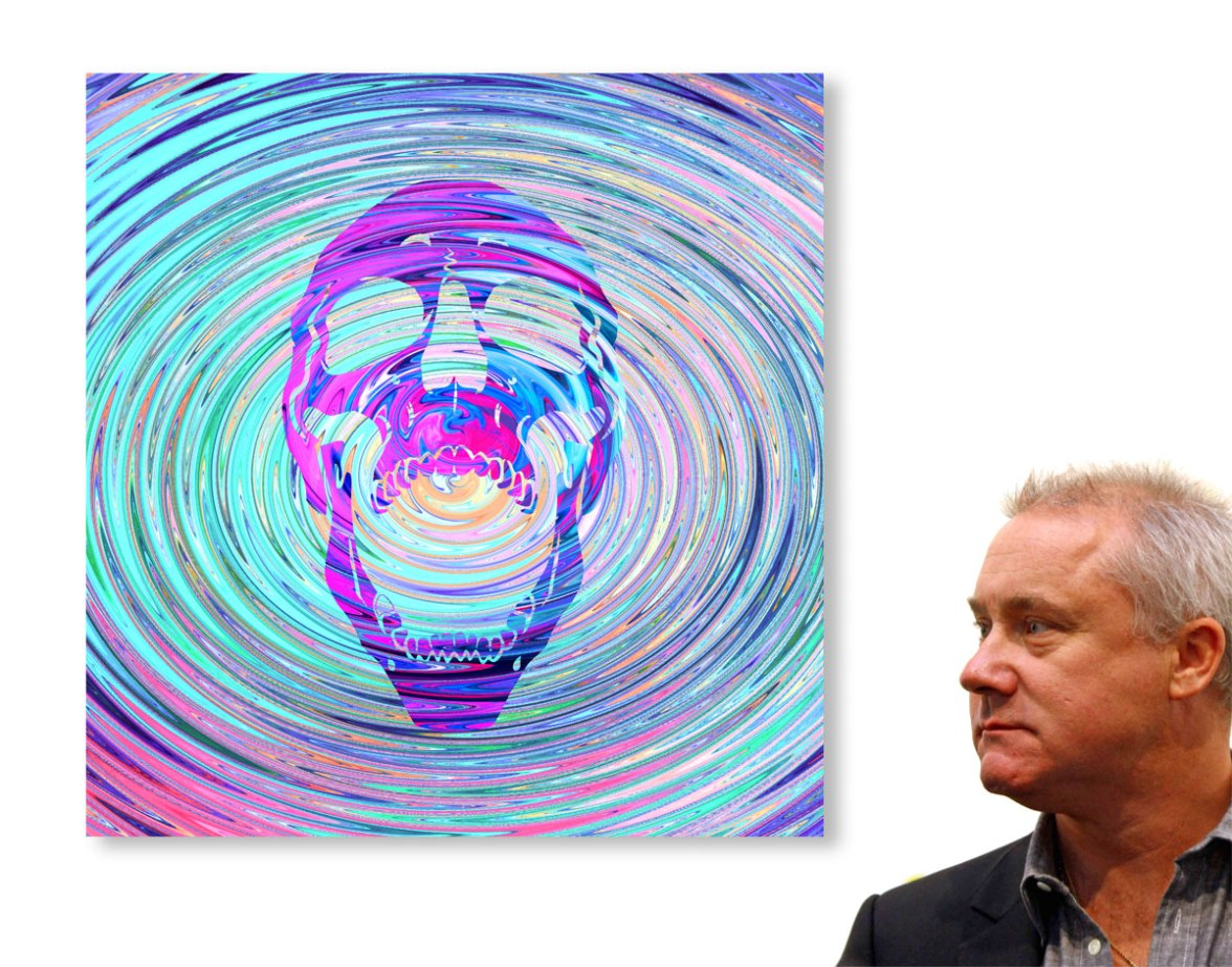 HIrst-with-new-skull-painting