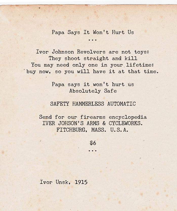 Papa says it won't hurt us, a poem by Ivor Unsk