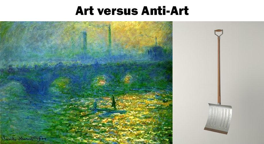 Art-versus-anti-art, Monet and Duchamp.