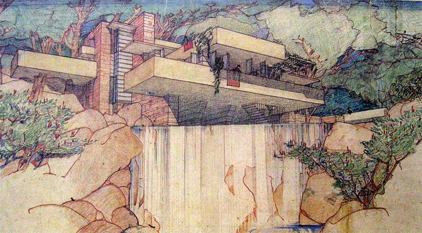 Frank Lloyd Wright, Falling Water Sketch