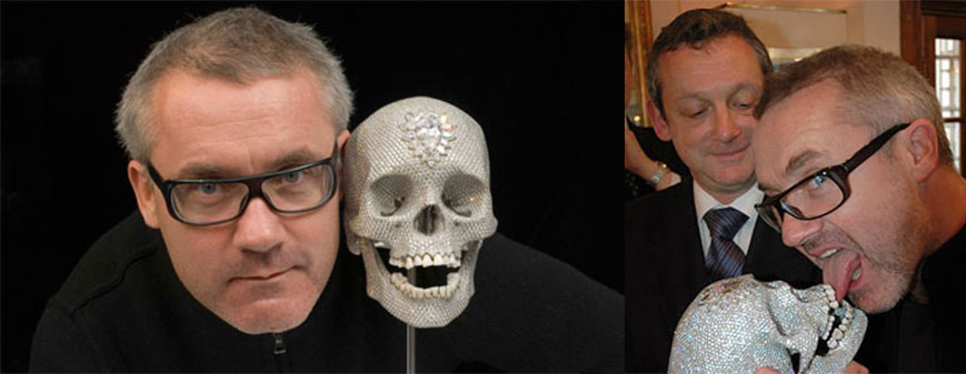 Damien Hirst and his diamond encrusted skull,