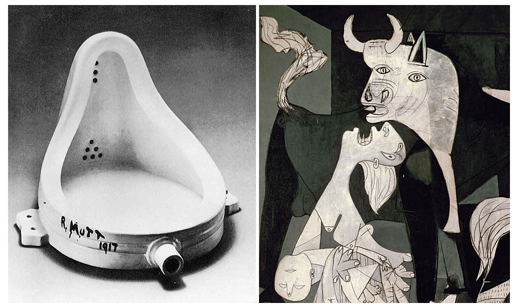 Picasso Versus Duchamp, fountain vs Guernica