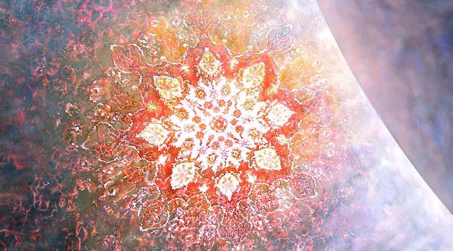 Spirit entering the void. The kaleidoscopic image comes from a photo I took of the center of a Persian rug I had in my apartment, which struck me as particularly beautiful one Peruvian Torch inspired afternoon.