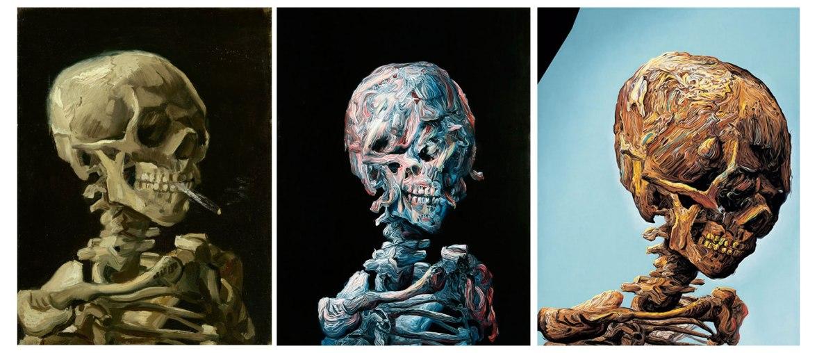 Glenn Brown paintings after Van Gogh skeleton with cigarette