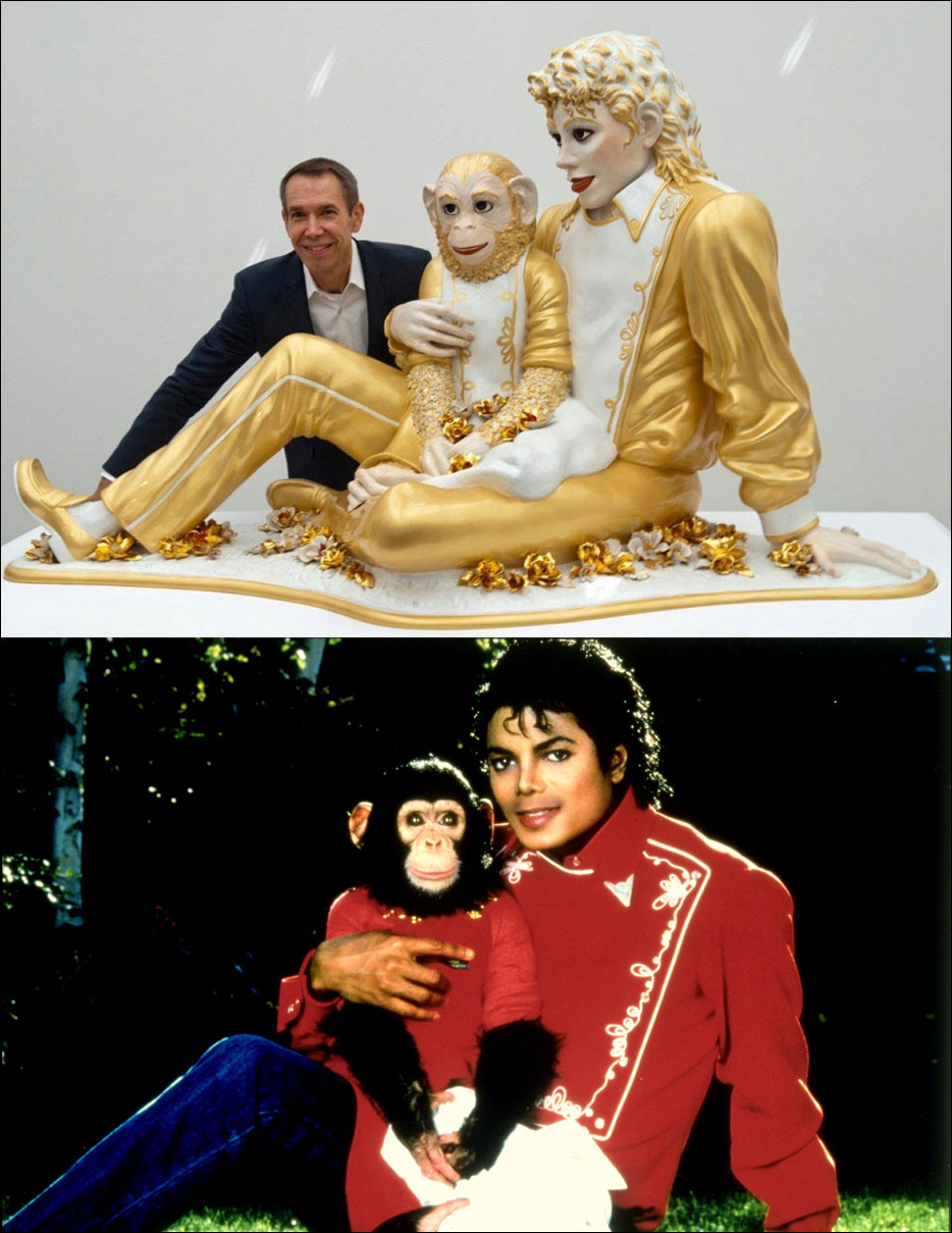 Jeff Koons and Michael Jackson Bubbles, based on publicity photo