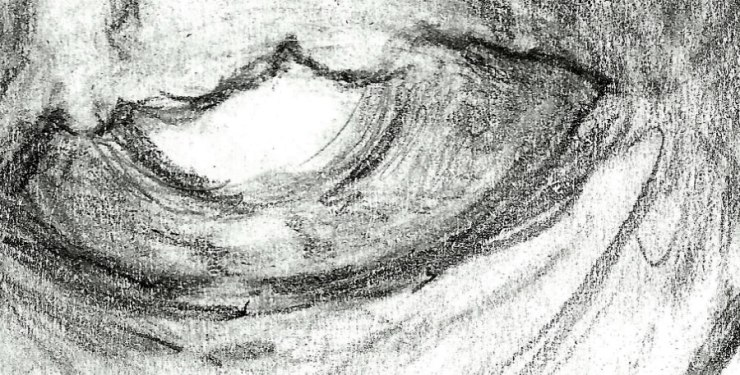 Detail of Eye from Game Over, pencil drawing by Eric Wayne