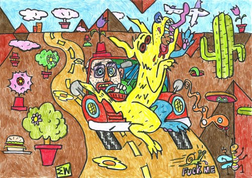 Dog Crash. Colored pencil and marker on paper.