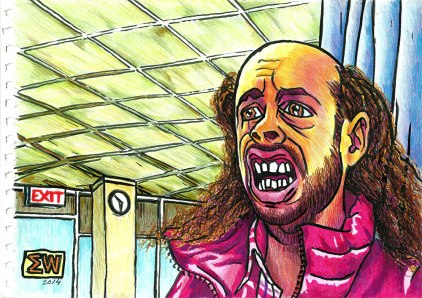 Ed Bassmaster pranking his DMV Photo. Colored pencils and markers.