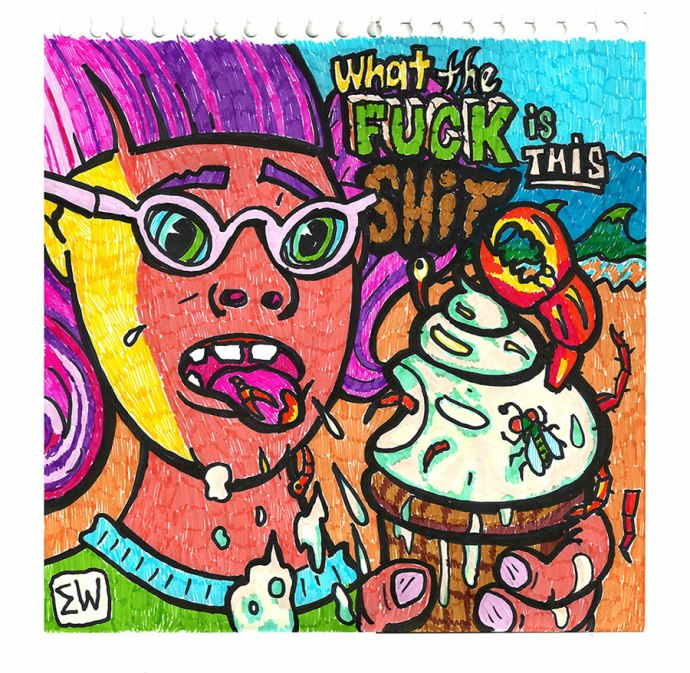 """Seafood Sorbet, by Eric Wayne (Kuns),Marker on paper. 10x10"""" 2014"""