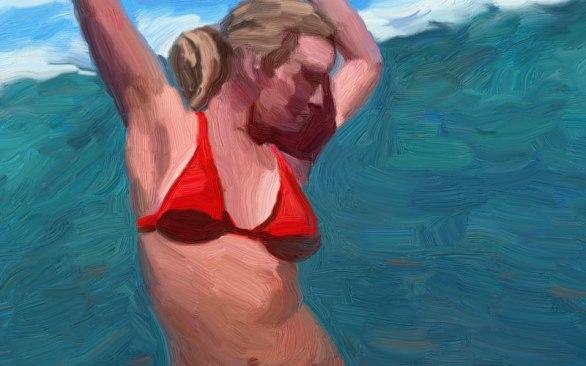 red-girl-with-wave bikini beach girls dancing