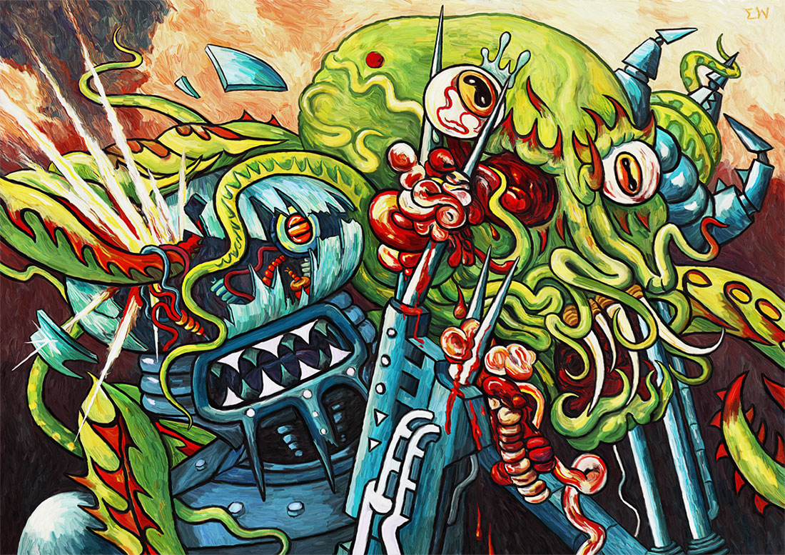 Robot Vs Monster, by Eric Wayne. Digital art and painting.