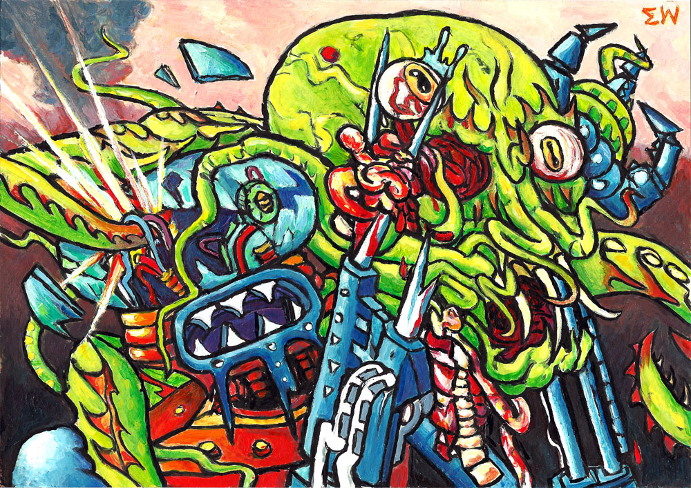 Robot Versus Monster 1, painting by Eric Kuns 2012