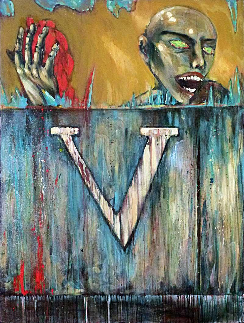 """""""v"""" Acrylic on canvas, 3'X4'. 1990"""