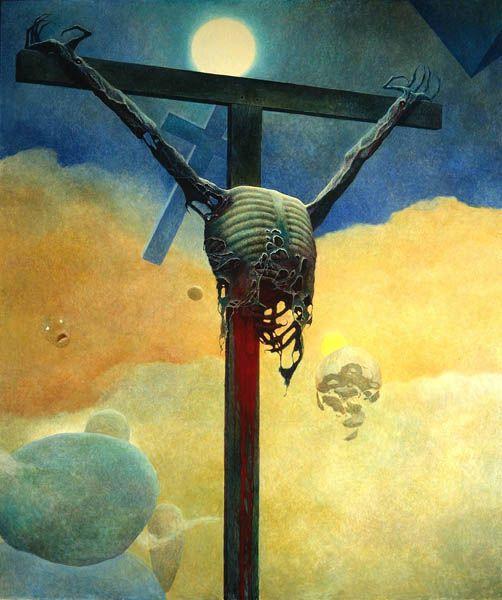 Zdzisław-Beksiński-Polish-Artist-Crucifixion