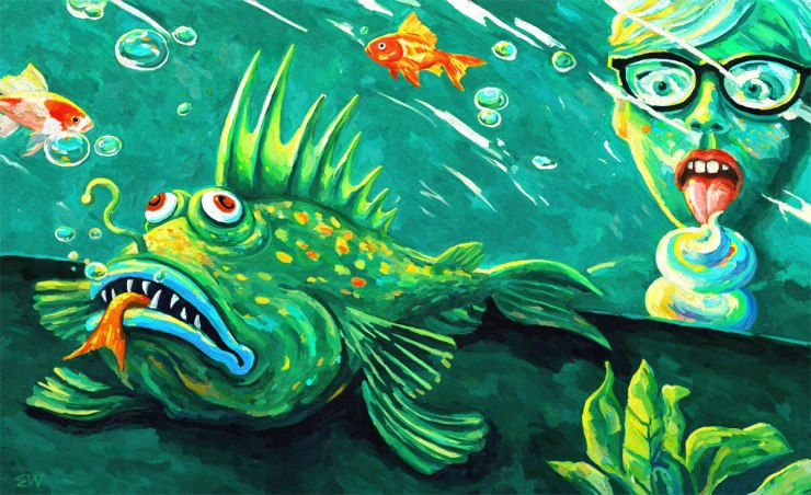 Ugly fish angler fish aquarium digital painting