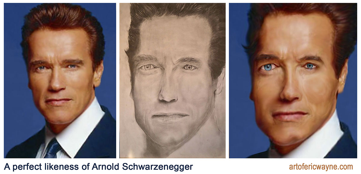 If celebrities looked like their fan art pics. Arnold. Bad fan art.