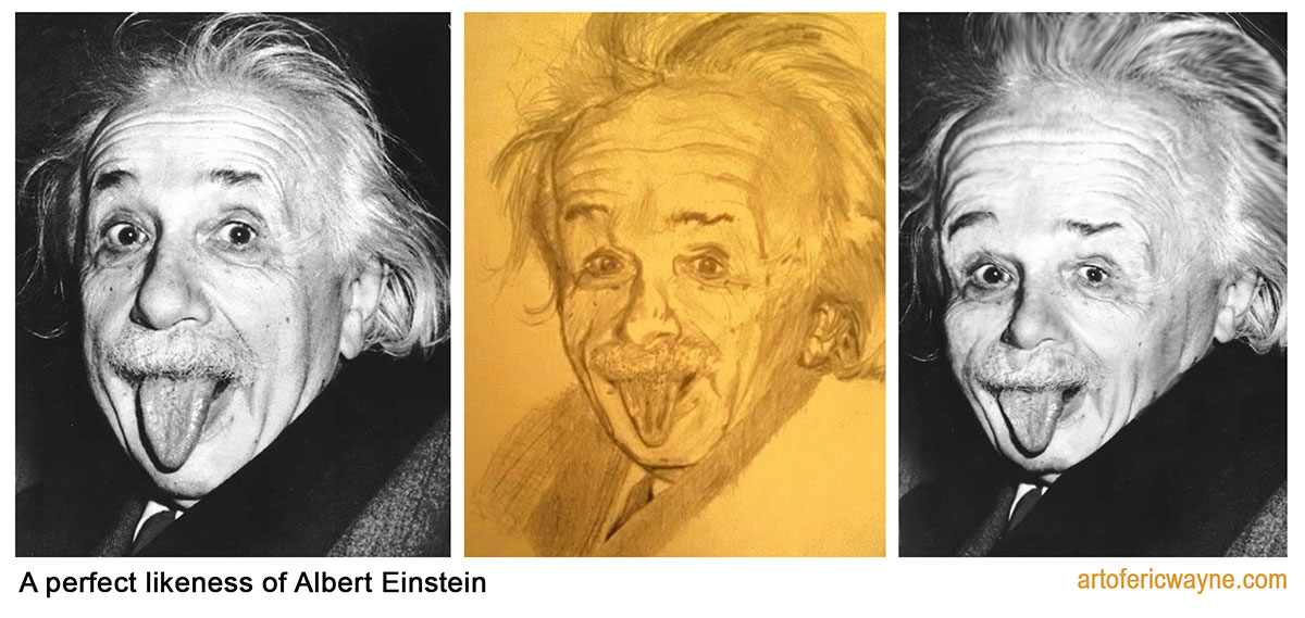 if celebrities looked like their fan art Einstein