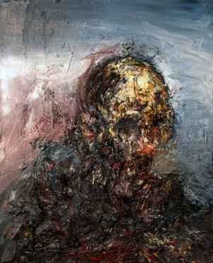 Head in a Landscape, oil on panel, 26″ x 24″, 2006, by Eric Pennington