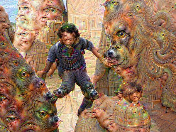 Google Deep Dream inceptionism walking througha dog walled world