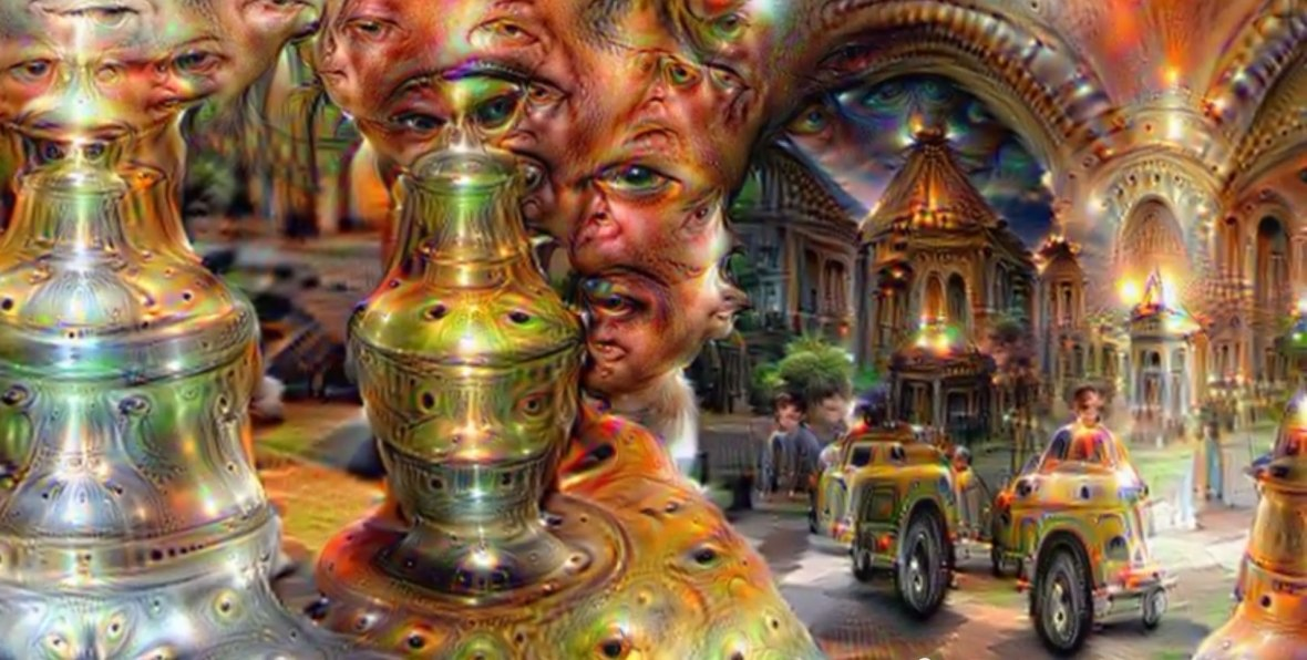 Google Deep Dream inceptionism cars people buildings