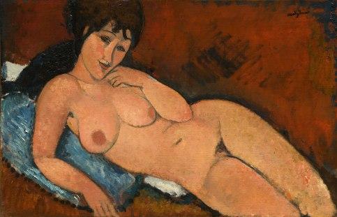 Nude on a Blue Cushion, by Modigliani