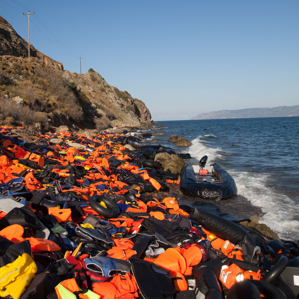 Refugee boat with vests on Lesbos