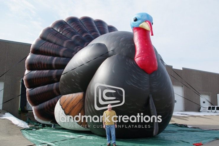 Cabela's grand opening in Plano, TX featured giant wildlife replicas, including this turkey replica along the nearby freeways to get local attention.