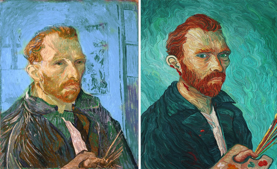 Van Gogh self-portrait by Eric Wayn before and after images.