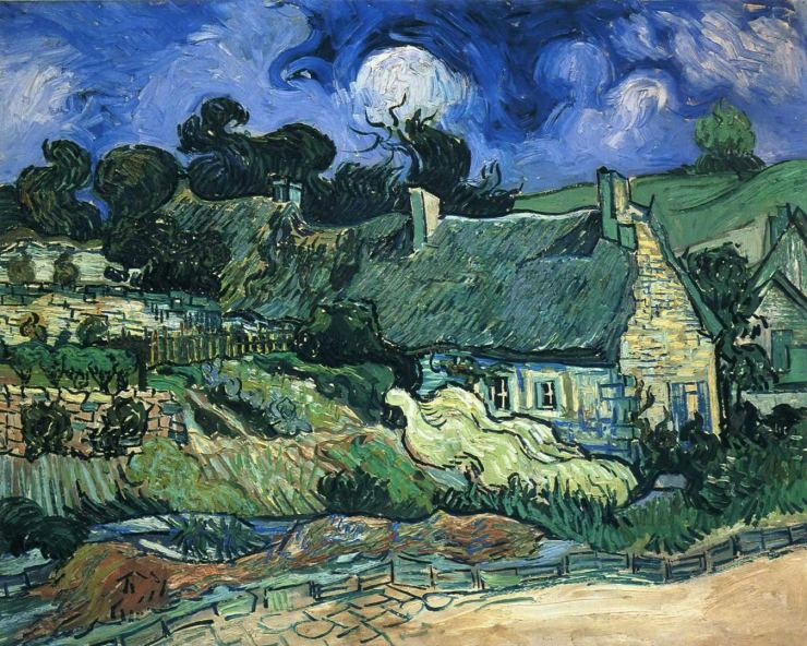 houses-with-thatched-roofs-cordeville, by Vincent Van Gogh