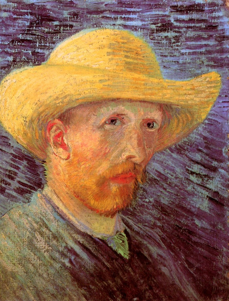 self-portrait-with-straw-hat-1887-2 by Vincent Van Gogh